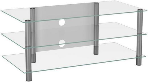 PHONOTISCH Klar, Silberfarben - Klar/Silberfarben, KONVENTIONELL, Glas/Metall (110/45/42cm)