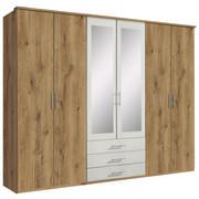 KLEIDERSCHRANK in Weiß, Eichefarben  - Eichefarben/Alufarben, KONVENTIONELL, Glas/Holzwerkstoff (270/210/58cm) - Carryhome