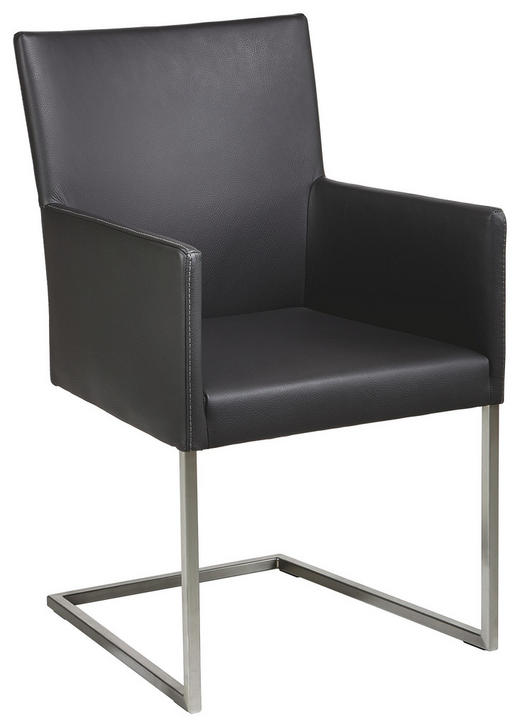 ARMLEHNSTUHL Echtleder Graphitfarben - Graphitfarben, Design, Leder/Metall (54/90,5/63cm) - Bert Plantagie