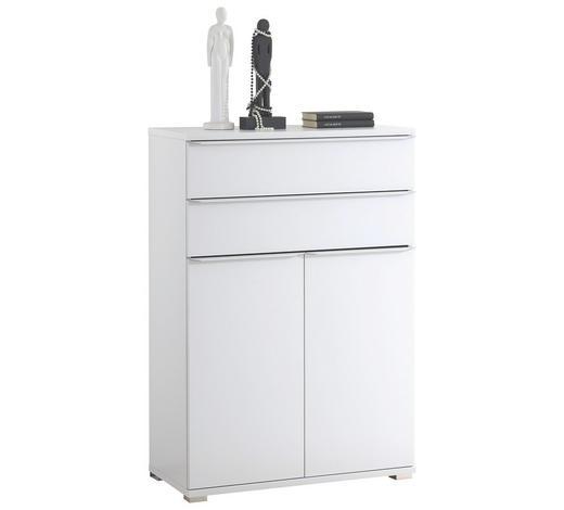 KOMMODE Weiß  - Chromfarben/Weiß, Basics, Glas/Kunststoff (80/117/40cm) - Moderano