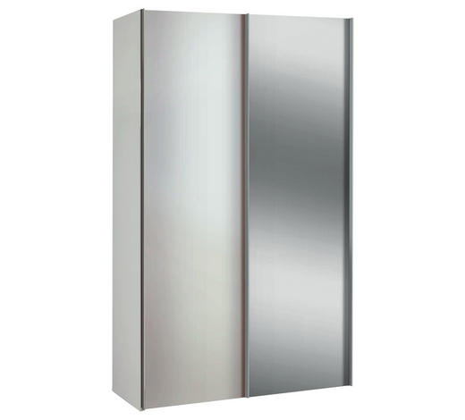 SCHRANK Weiß  - Alufarben/Weiß, Basics, Holzwerkstoff/Metall (125/216/48cm)