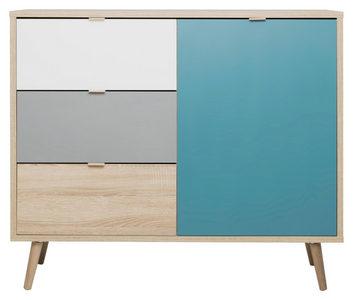 KOMODA - Petrolej plava/Siva, Trendi, Pločasti materijal (103/87/40cm) - Carryhome