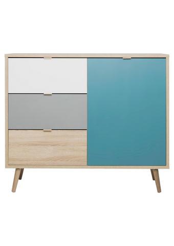 KOMODA - bijela/siva, Trend, drvni materijal (103/87/40cm) - Carryhome