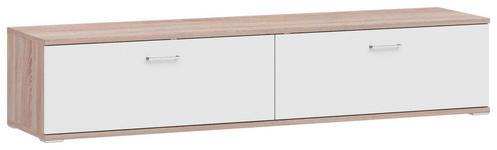LOWBOARD Melamin Weiß, Eichefarben  - Eichefarben/Alufarben, Design, Metall (200/41,2/49cm) - Xora