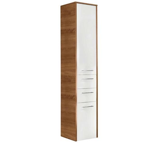 HOCHSCHRANK Weiß  - Chromfarben/Eichefarben, Design, Glas/Holzwerkstoff (40,6/187/32,8cm) - Carryhome