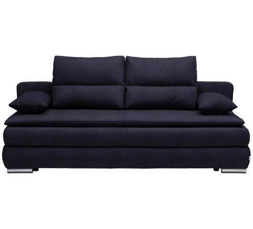 SCHLAFSOFA in Textil Dunkelblau, Silberfarben - Silberfarben/Dunkelblau, KONVENTIONELL, Kunststoff/Textil (207/94/90cm) - Venda