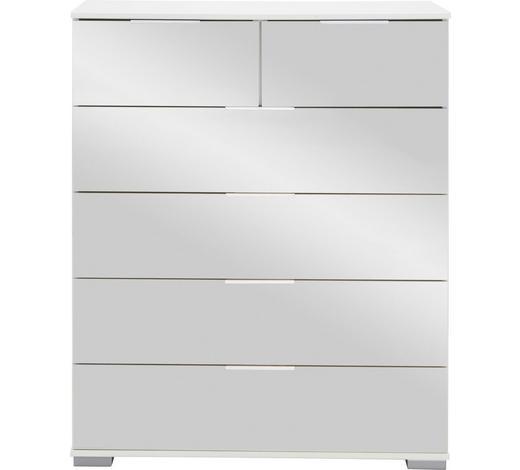 KOMMODE 82/102/42 cm - Alufarben/Weiß, Design, Glas/Holzwerkstoff (82/102/42cm) - Carryhome