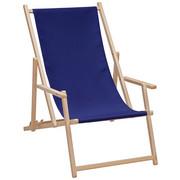STRANDSESSEL - Buchefarben/Dunkelblau, Design, Holz/Textil (56/66/103cm)