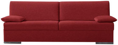 SCHLAFSOFA in Textil Rot  - Chromfarben/Rot, KONVENTIONELL, Textil/Metall (220/88/90cm) - Novel