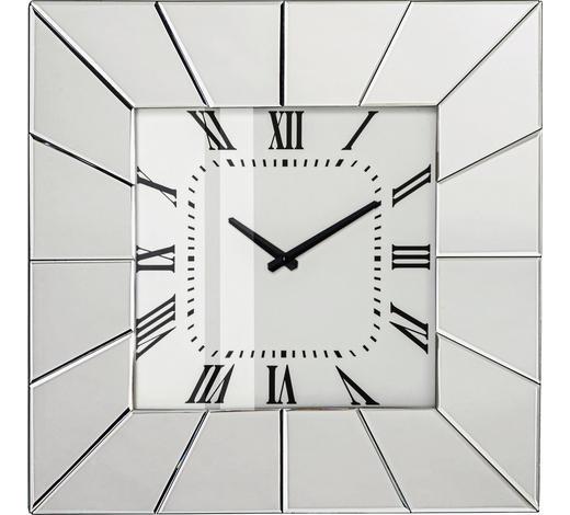 NÁSTĚNNÉ HODINY, barvy stříbra,  - barvy stříbra, Design, kompozitní dřevo/sklo (50,5/50,5/5,3cm) - Xora