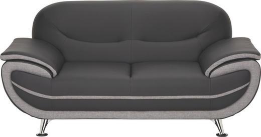 ZWEISITZER-SOFA Lederlook, Webstoff Grau, Schwarz - Chromfarben/Schwarz, Design, Textil/Metall (175/85/87cm) - Ti`me