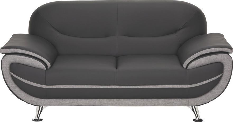 Zweisitzer Sofa Lederlook Webstoff Grau Schwarz Online Kaufen