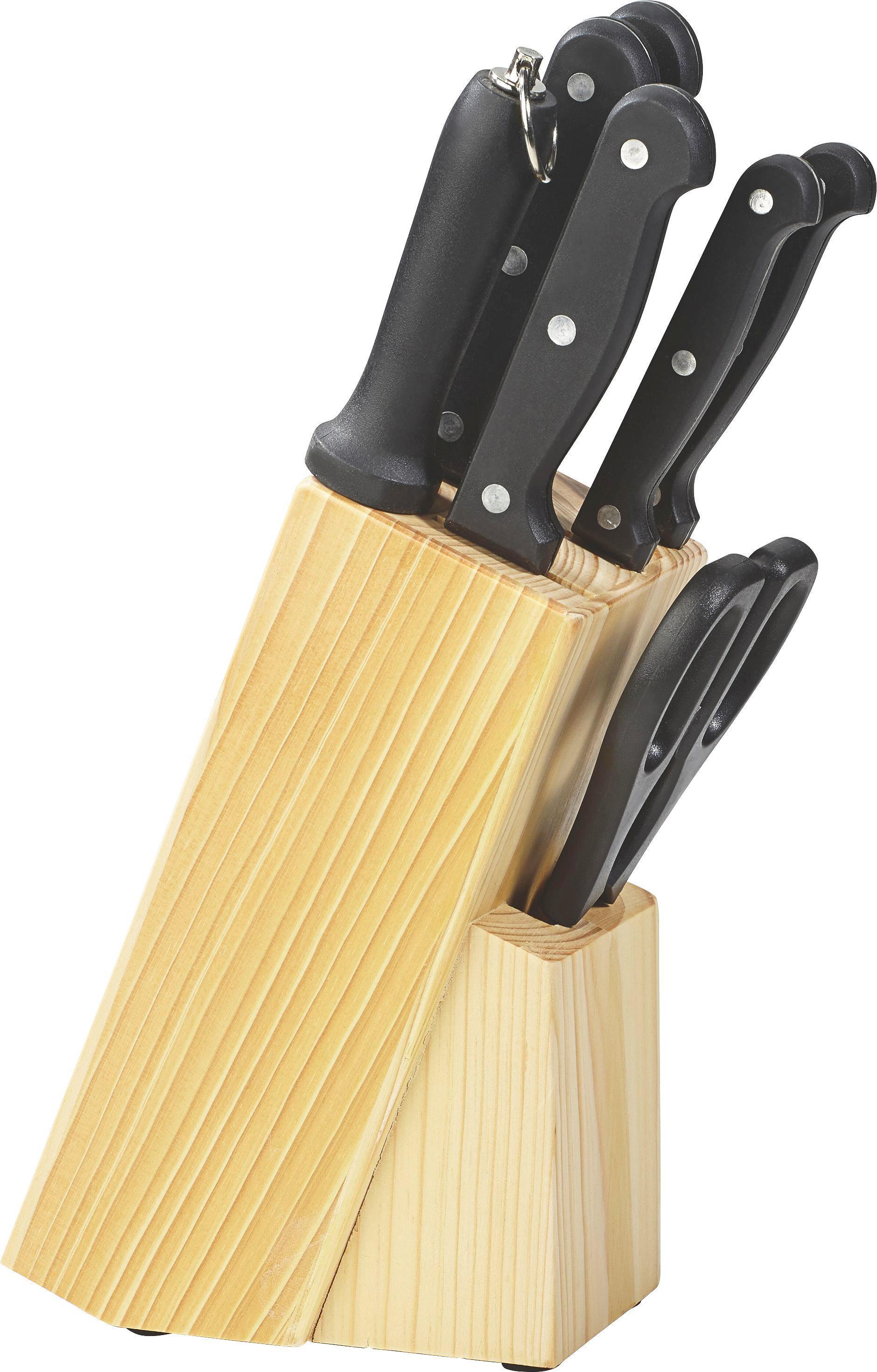 MESSERBLOCK 8-teilig KüchenChef - Silberfarben/Schwarz, KONVENTIONELL, Holz/Metall - JUSTINUS