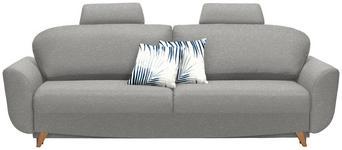 SCHLAFSOFA Webstoff Grau - Blau/Naturfarben, Design, Holz/Textil (240/102/90cm) - Novel