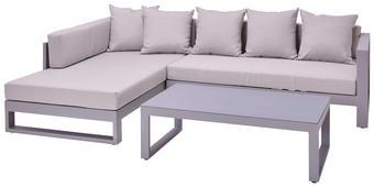 LOUNGE GARNITURA tkanina aluminij - svetlo siva, Basics, kovina/steklo (180/248cm) - Amatio
