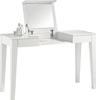 KOSMETICKÝ STŮL - bílá, Design, dřevěný materiál (125/75/120/45cm) - XORA