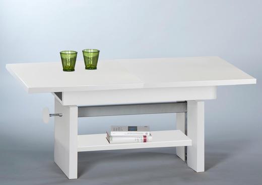 COUCHTISCH rechteckig Weiß - Weiß, Design (110-150/46-64/65cm) - Carryhome