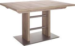 ESSTISCH in Edelstahlfarben, Eichefarben - Edelstahlfarben/Eichefarben, Design, Holzwerkstoff/Metall (130(178)/90/75cm) - DIETER KNOLL