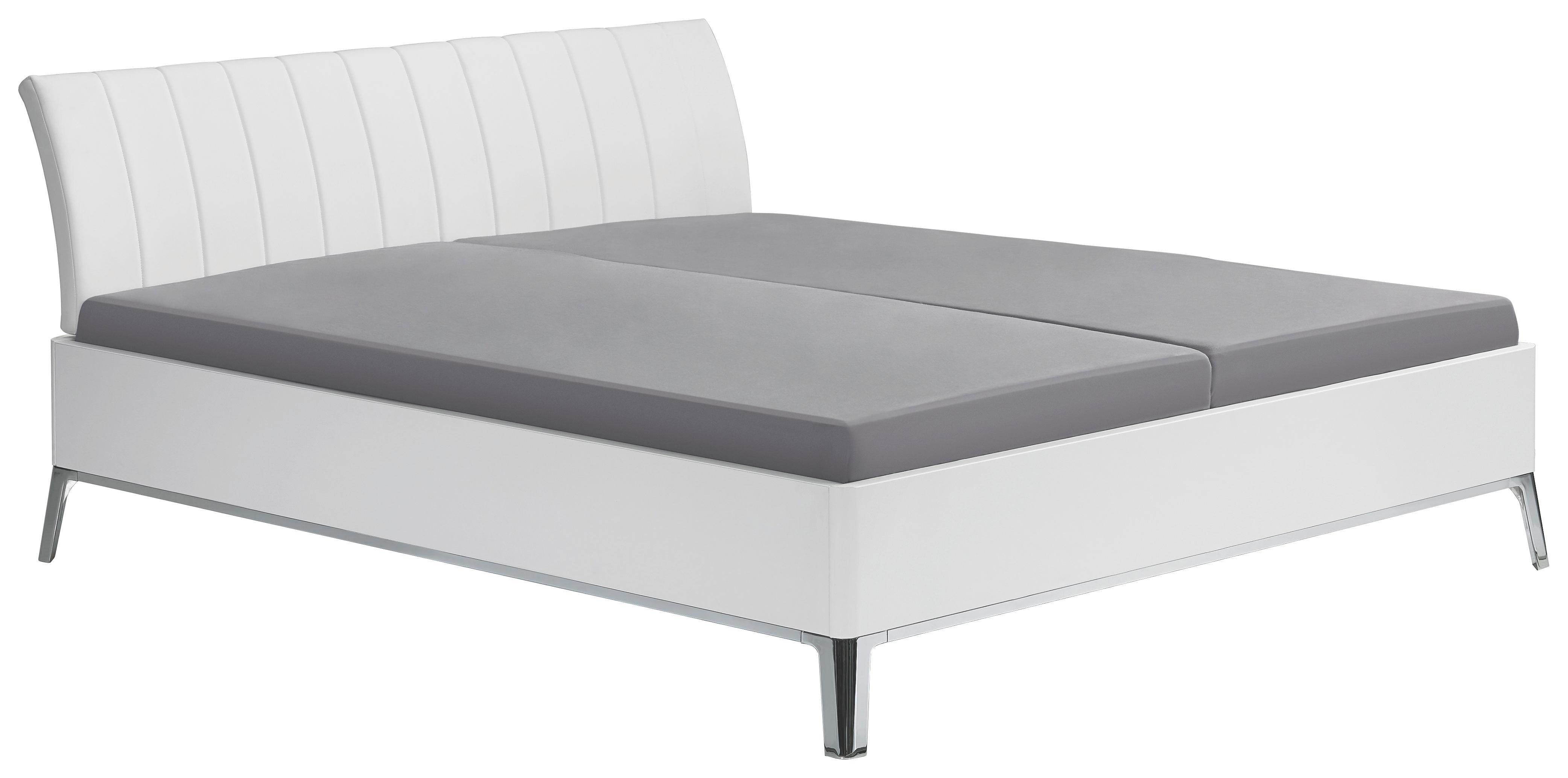 BETT 180/200 cm - Chromfarben/Weiß, Design, Metall (180/200cm) - VISIONIGHT