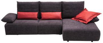WOHNLANDSCHAFT Anthrazit Mikrofaser - Anthrazit/Schwarz, Design, Kunststoff/Textil (305/155cm) - Dieter Knoll