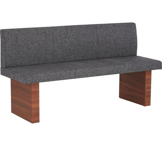 SITZBANK 165.0/87.0/57.0 cm  in Grau, Nussbaumfarben  - Nussbaumfarben/Grau, KONVENTIONELL, Holz/Textil (165.0/87.0/57.0cm) - Invivus