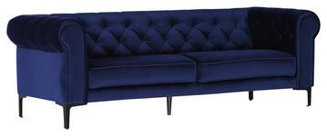 DREISITZER-SOFA in Textil Blau  - Blau/Schwarz, Trend, Textil/Metall (220/75/90cm) - Carryhome