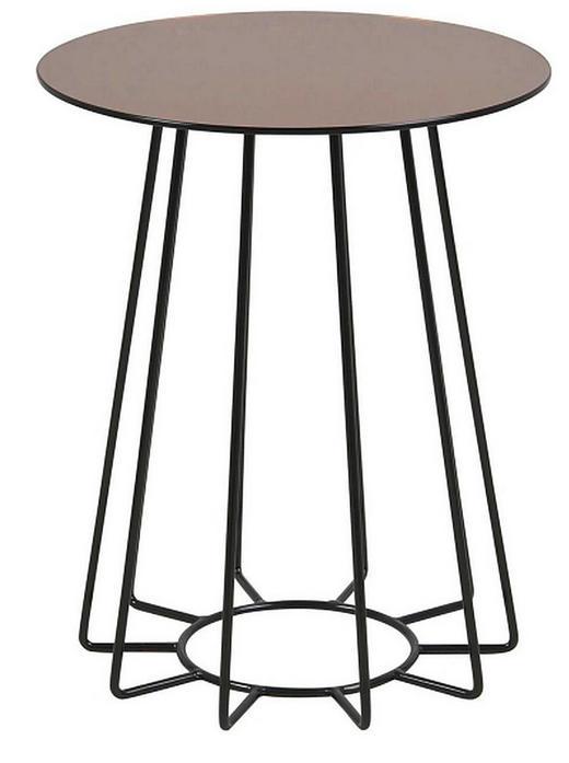 BEISTELLTISCH rund Bronzefarben, Schwarz - Schwarz/Bronzefarben, Trend, Glas/Metall (40/40/50cm) - Ambia Home
