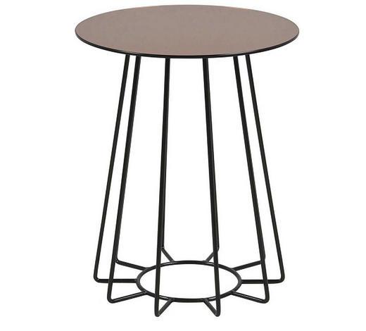 BEISTELLTISCH in Metall, Glas 40/40/50 cm - Schwarz/Bronzefarben, Trend, Glas/Metall (40/40/50cm) - Ambia Home