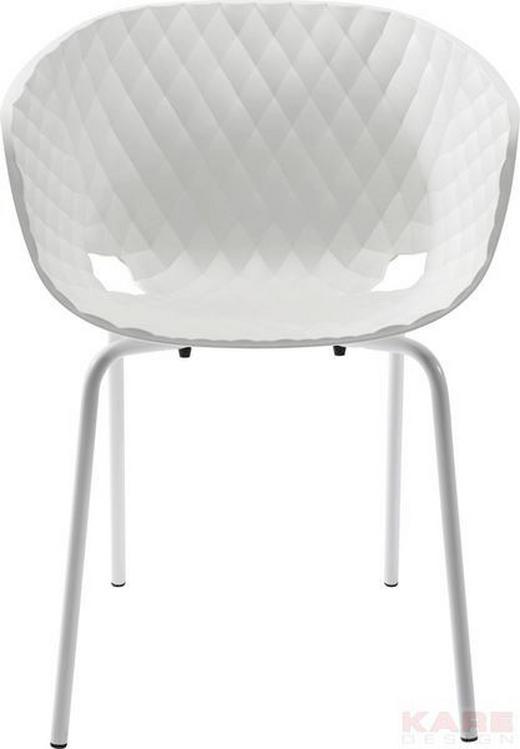 ARMLEHNSTUHL Weiß - Chromfarben/Weiß, Design, Kunststoff/Metall (59/80/55cm) - Kare-Design