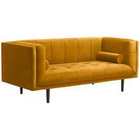 SOFA - Dunkelbraun/Gelb, Design, Holzwerkstoff/Textil (200/80/87cm) - Carryhome