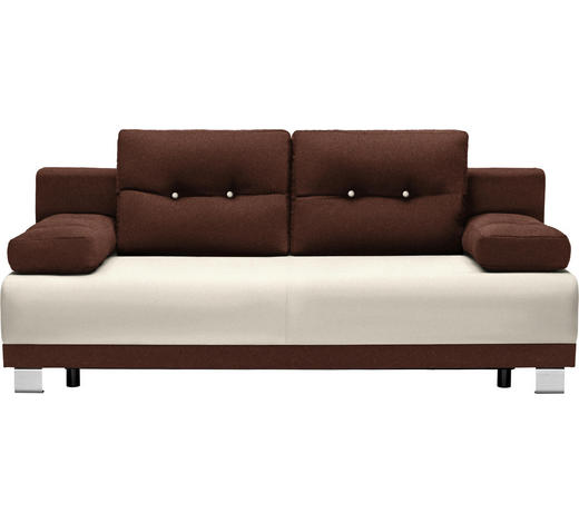 SCHLAFSOFA in Textil Braun, Beige  - Beige/Alufarben, Design, Kunststoff/Textil (200/84/94cm) - Carryhome