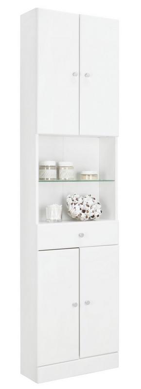 HÖGSKÅP - vit/kromfärg, Klassisk, glas/träbaserade material (50/188,5/20cm) - Xora