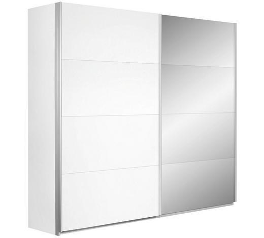 SCHWEBETÜRENSCHRANK 2-türig Weiß  - Silberfarben/Weiß, Design, Glas/Holzwerkstoff (226/210/62cm) - Carryhome
