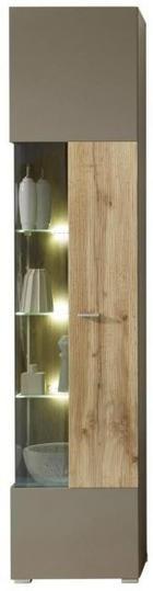 VITRINE in Eichefarben, Grau - Chromfarben/Eichefarben, Design, Glas/Holzwerkstoff (45/202/38cm) - XORA