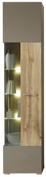 VITRINE Eichefarben, Grau - Chromfarben/Eichefarben, Design, Glas/Holzwerkstoff (45/201/36cm) - Xora