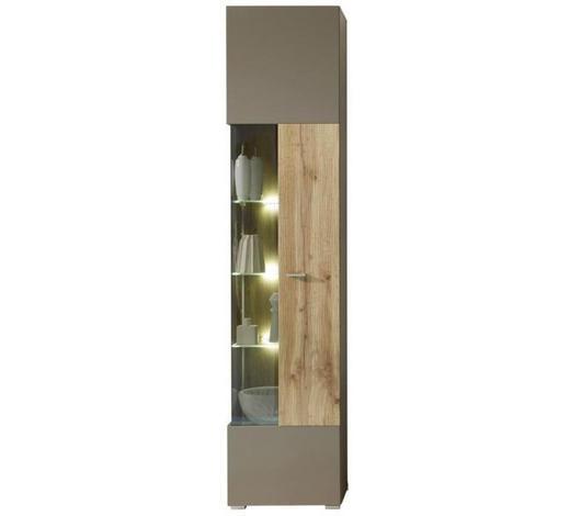 VITRINE  in Grau, Eichefarben - Chromfarben/Eichefarben, Design, Glas/Holzwerkstoff (45/202/38cm) - Xora