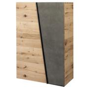 SCHUHSCHRANK Eiche furniert, massiv Eichefarben, Grau - Eichefarben/Grau, Design, Holz/Stein (96,2/138/42,3cm) - Voglauer