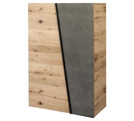 SCHUHSCHRANK Eiche furniert, massiv Grau, Eichefarben  - Eichefarben/Grau, Design, Holz/Stein (96,2/138/42,3cm) - Voglauer