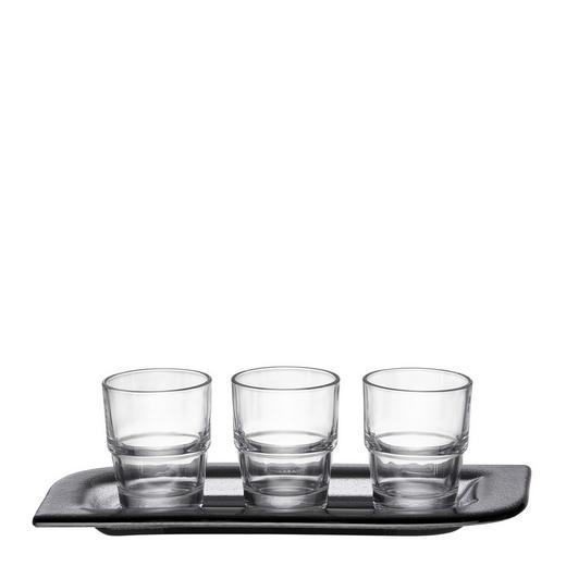 Servierset 4-tlg. - Transparent/Grau, Design, Glas (13/28cm) - Leonardo