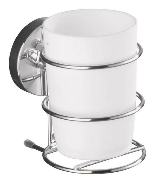 ZAHNPUTZBECHER Metall, Kunststoff - Chromfarben/Weiß, Basics, Kunststoff/Metall (7,5/11,5/9,5cm)