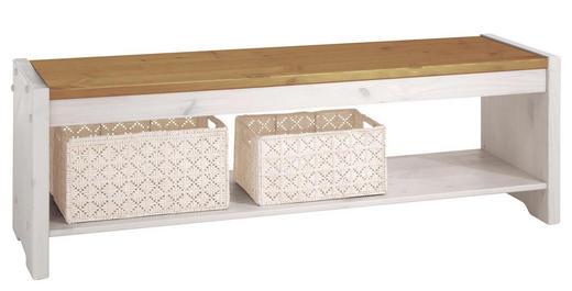 SITZBANK Kiefer massiv Kieferfarben, Weiß - Weiß/Kieferfarben, Design, Holz (140/48/40cm) - Carryhome
