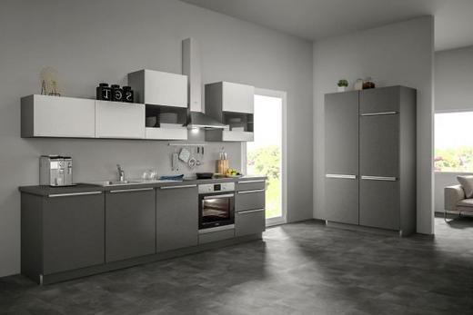 Eckküche ohne E-Geräte Soft-Close-System, Spüle - Weiß/Grau, Design (120+300cm) - SetOne by Musterring