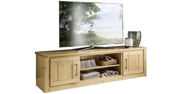 TV-ELEMENT Kiefer massiv Kieferfarben  - Schwarz/Kieferfarben, Natur, Holz/Metall (187,6/52/52,3cm) - Linea Natura