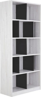 REGÁL - bílá/barvy grafitu, Design, dřevěný materiál (90/198/38cm) - CARRYHOME
