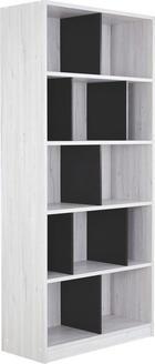 REGÁL - bílá/tmavě šedá, Design, dřevěný materiál (90/198/38cm) - CARRYHOME
