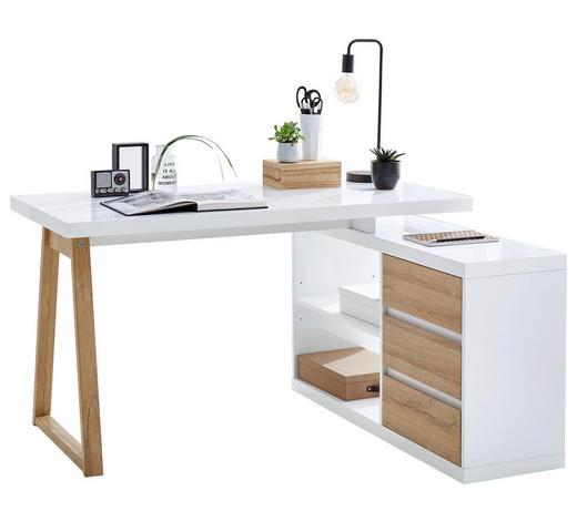 ECKSCHREIBTISCH Weiß, Eichefarben  - Eichefarben/Weiß, Design (135/75/115cm) - Stylife