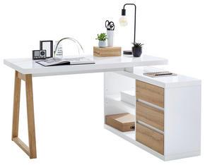 HÖRNSKRIVBORD - vit/ekfärgad, Design, träbaserade material (135/75/115cm) - Stylife