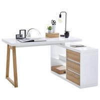 KOMBINIRANA PISALNA MIZA leseni material bela, hrast - bela/hrast, Design, leseni material (135/75/115cm) - STYLIFE
