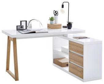 PSACÍ STŮL S REGÁLEM - bílá/barvy dubu, Design, kompozitní dřevo (135/75/115cm) - Stylife