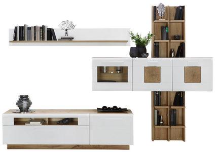 HYLLKOMBINATION - vit/kromfärg, Modern, glas/träbaserade material (318/194/46cm) - Hom`in